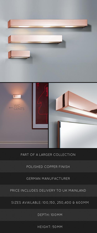 Bathroom Lights Copper bathroom wall lights & mirror lights - copper bathroom accessories