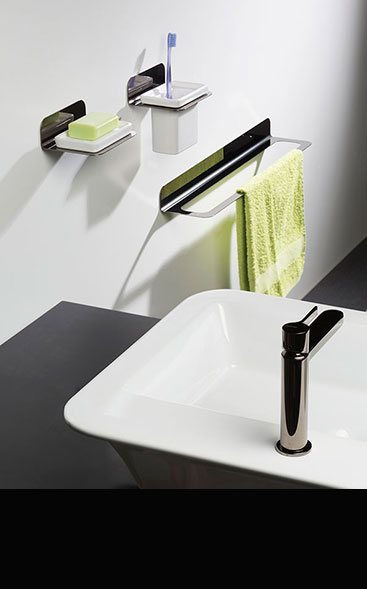 Modern designer luxury bathroom accessories fittings in uk for Black and chrome bathroom accessories