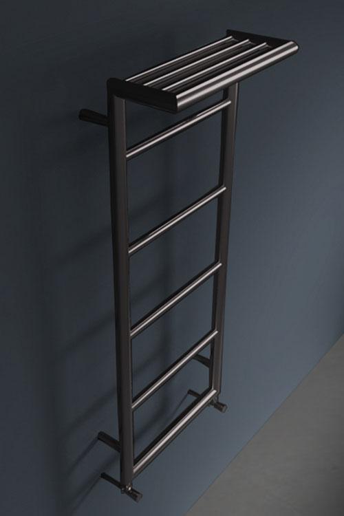 Shelf Black Chrome Towel Rail With Top Rack Livinghouse