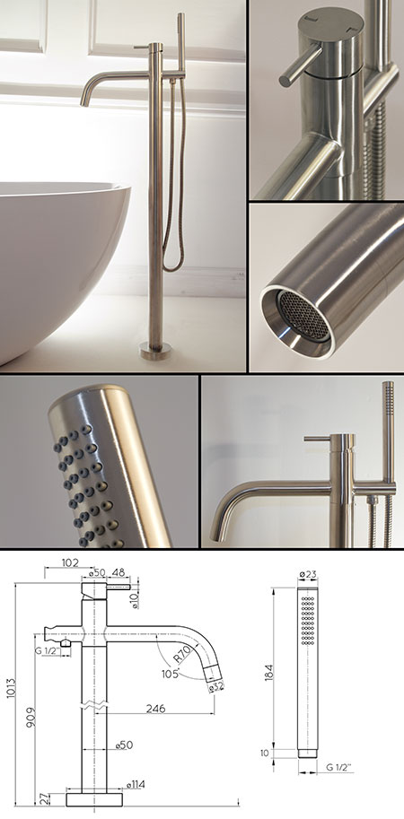Noa Freestanding Bath Tap Brushed Stainless Steel Taps