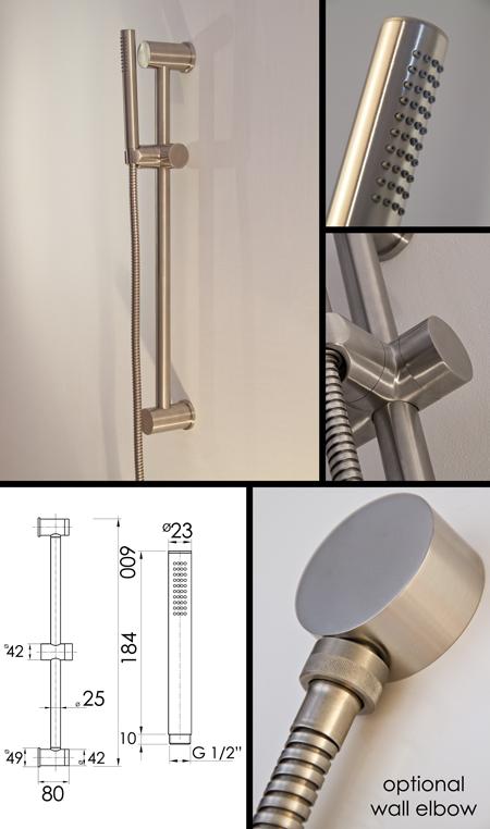 Noa Shower Head & Slide Rail | Brushed Stainless Steel Taps