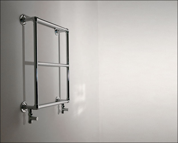 Brushed Chrome Bathroom Radiators: Traditional Heated Towel Rail - Mini