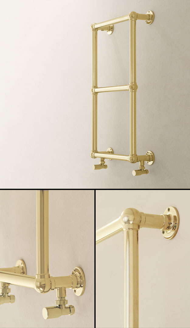Ball Jointed Gold Towel Rail Traditional Gold Towel