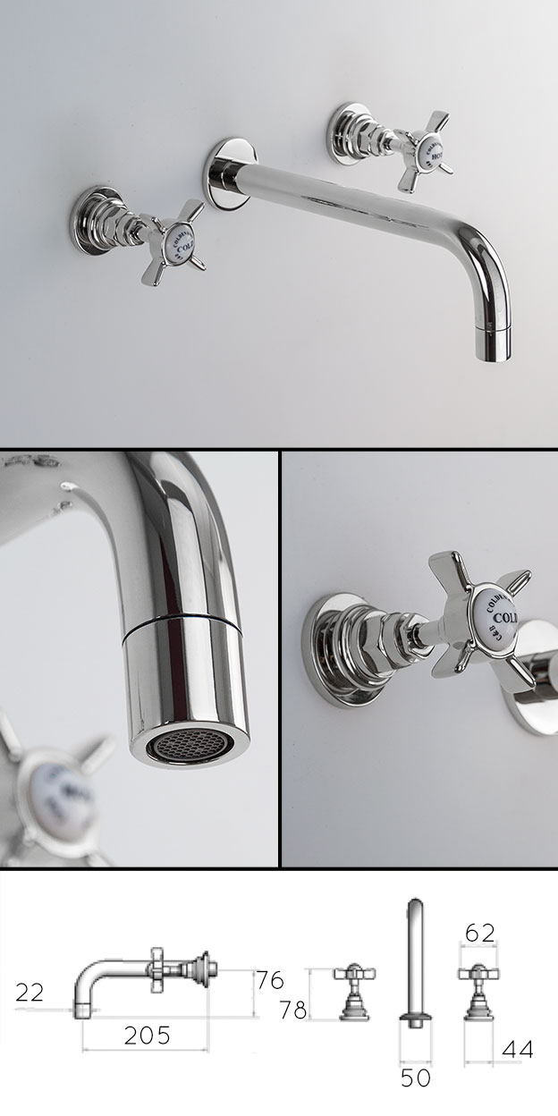 Classic Traditional Wall Mounted Basin Taps Livinghouse