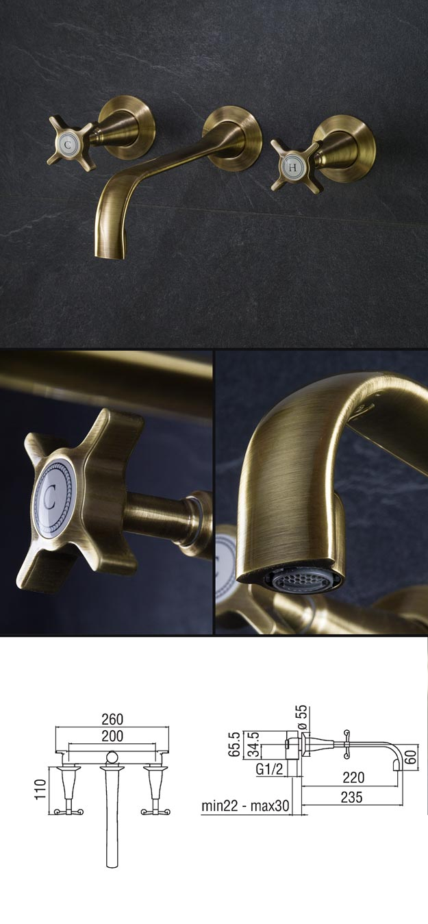 Brass Taps 3 Piece Amp Wall Mounted Brass Basin Tap Coco