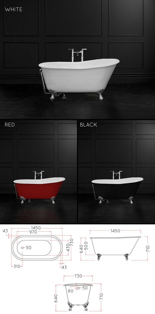 1400mm Roll Top Bath - Cast Iron Slipper Baths - Comfy