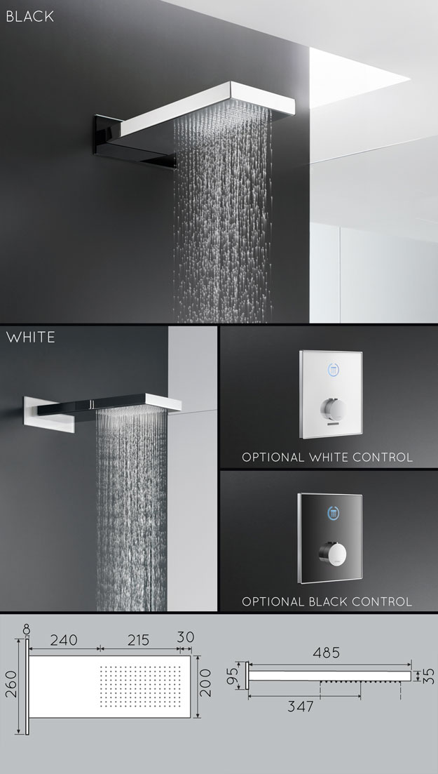 Glass chrome rain shower head livinghouse - Glass shower head ...
