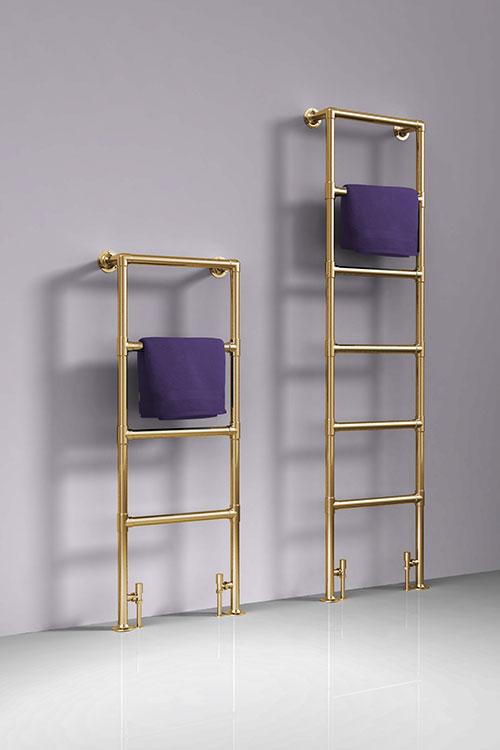 Gold Floor Mounted Heated Towel Rail Deco