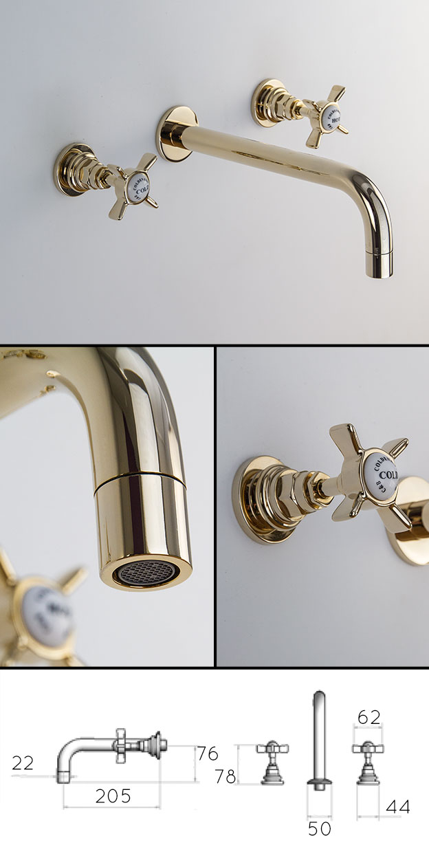 Traditional Gold Taps Wall Mounted Basin Taps Classic