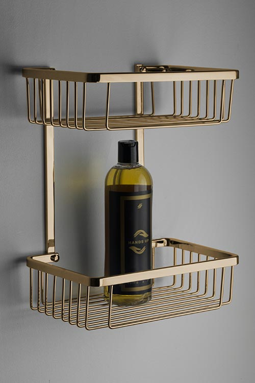 Spa Gold Double Shower Basket Gold Accessories