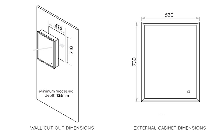 Steamless Recessed Bathroom Cabinet (62Q)