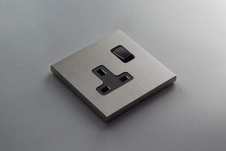 Designer Brushed Nickel Wall Plug Sockets Vogue Collection