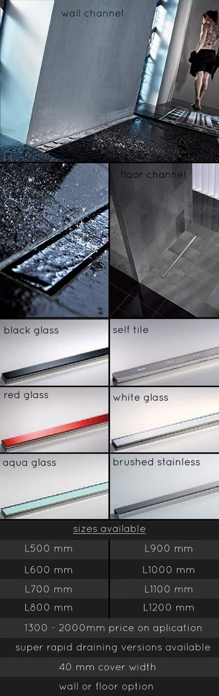 wet room drains linear drains long channel shower drain. Black Bedroom Furniture Sets. Home Design Ideas