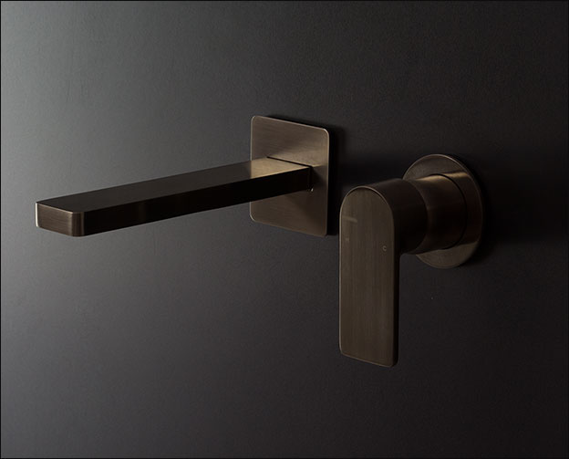 Brushed Amp Polished Black Chrome Wall Mounted Basin Taps Mia