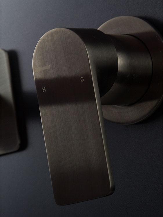 Brushed Amp Polished Black Chrome Wall Mounted Basin Taps Mia