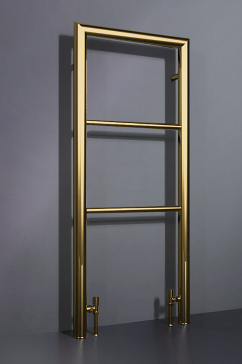 Gold Floor Mounted Heated Towel Rail Milli