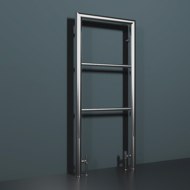 chrome floor mounted heated towel rail