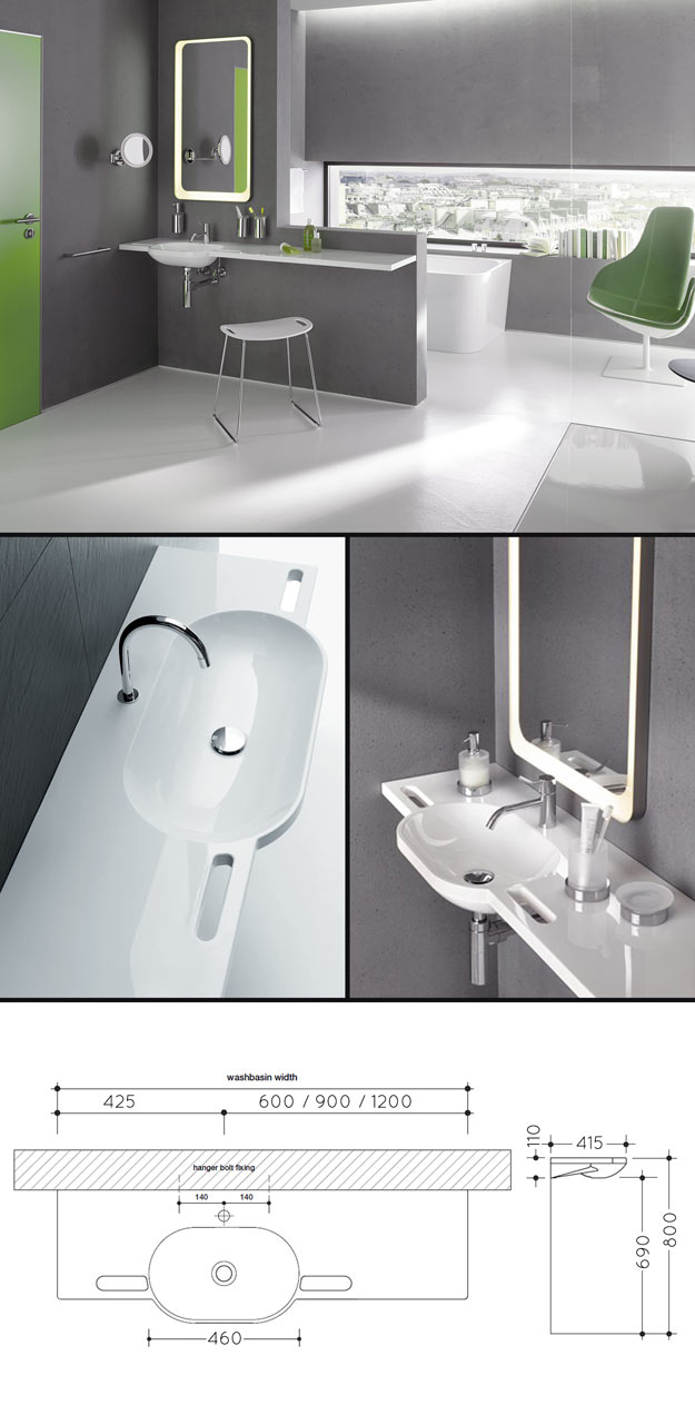 Basin For Disabled Bathrooms with Grab Handles