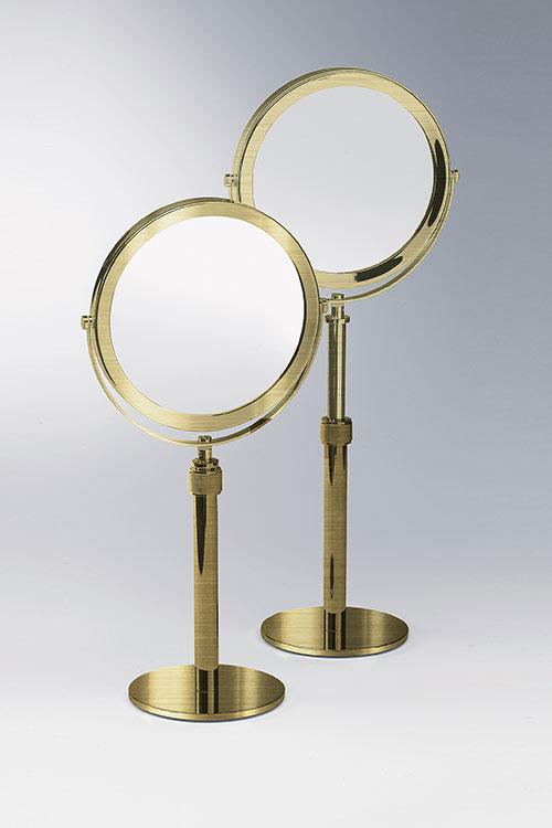 Magnifying Make Up Shaving Mirror, Brass Bathroom Mirrors