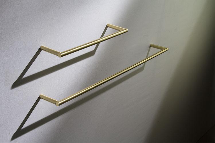 brushed brass towel hanging rail amp bars moca bathroom
