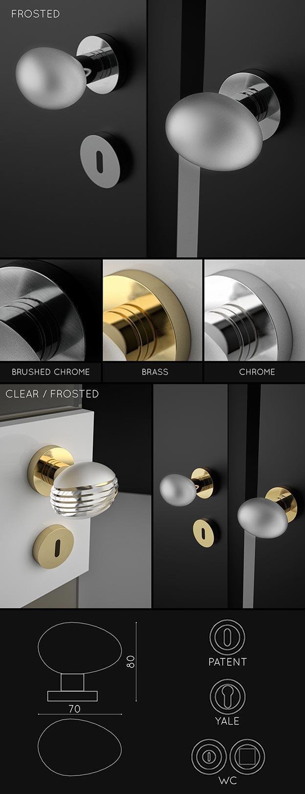 Pearl Glass Door Handle Designer Interior Door Handles