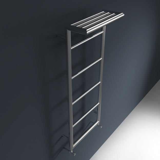 wall mounted towel radiator with top towel rack shelf. Black Bedroom Furniture Sets. Home Design Ideas