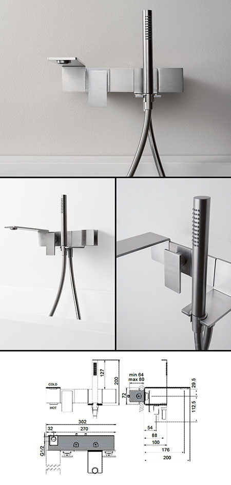 Slimm Bath Tap With Shower Stainless Steel Taps