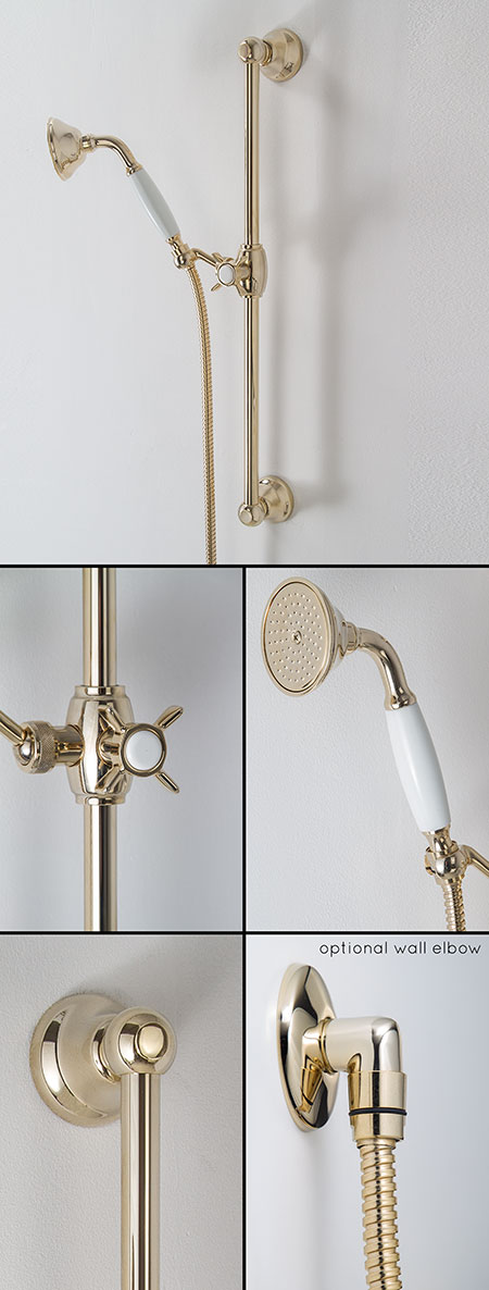 Traditional Gold Shower Head with Adjustable Slide Rail | Classic