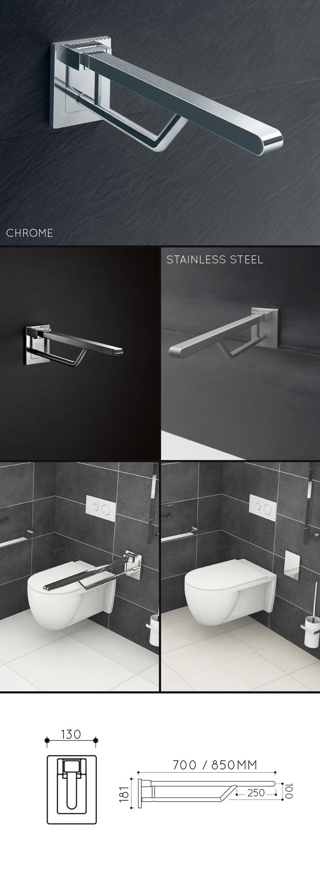 Folding Toilet Grab Bar & Removable Disabled Support Rails