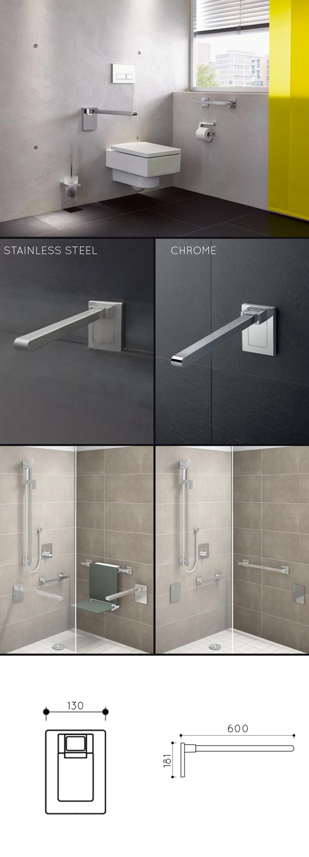 Folding Toilet Grab Bars & Removable Support Rails - Disabled