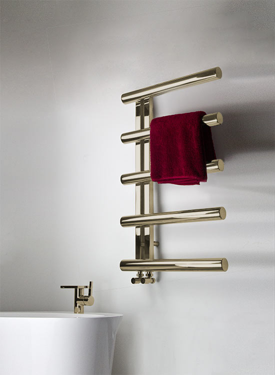 Brushed Or Polished Brass Towel Warmer Tubular