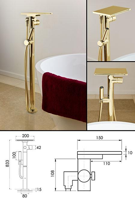 Waterfall Gold Freestanding Bath Tap Waterblade
