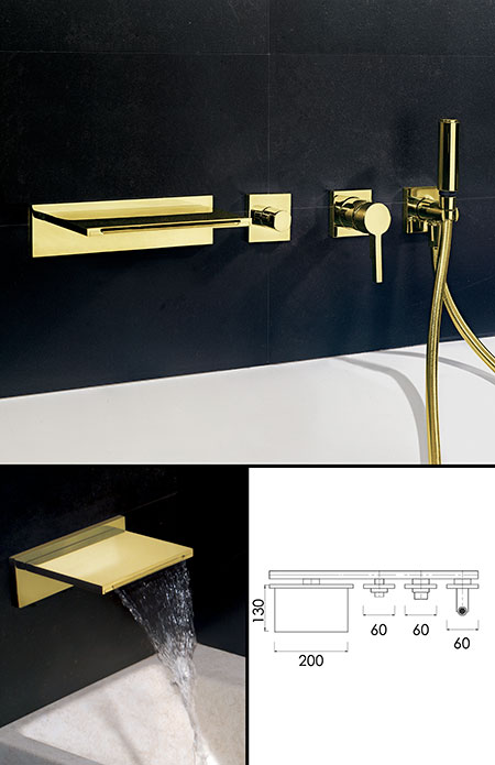 Waterfall Gold Bath Taps With Shower Attachment Waterblade