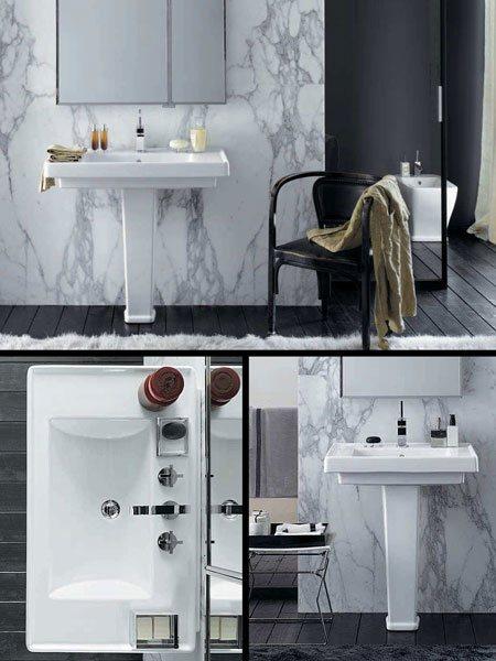 Art deco style bathroom washbasin pedestal for Toilet deco