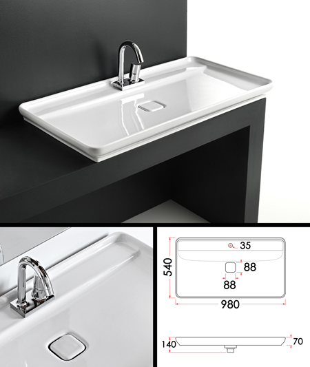 Large counter top basin work top sinks super flat for Bathroom wash basin counter designs