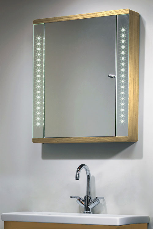 Wooden Bathroom Cabinet Illuminated Mirror Cabinets In Oak