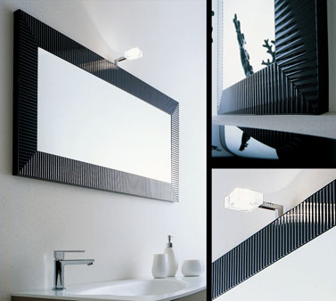 Ebony Lacquered Glass Illuminated Mirror 63D