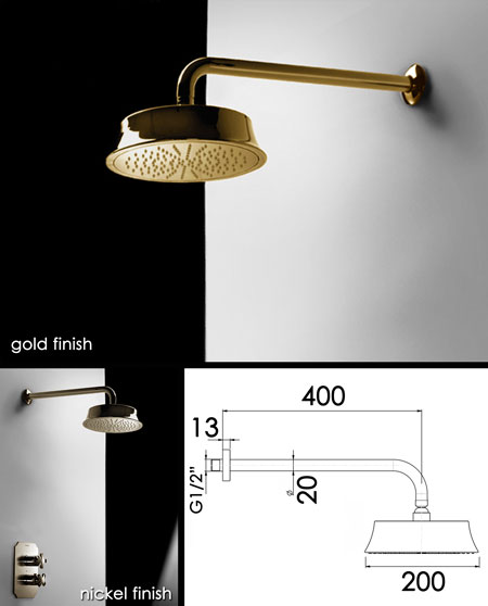 coox gold fixed shower head 43c