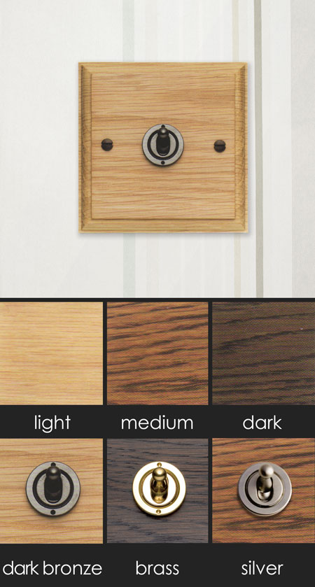 Period Household Oak Light Switch With Toggle