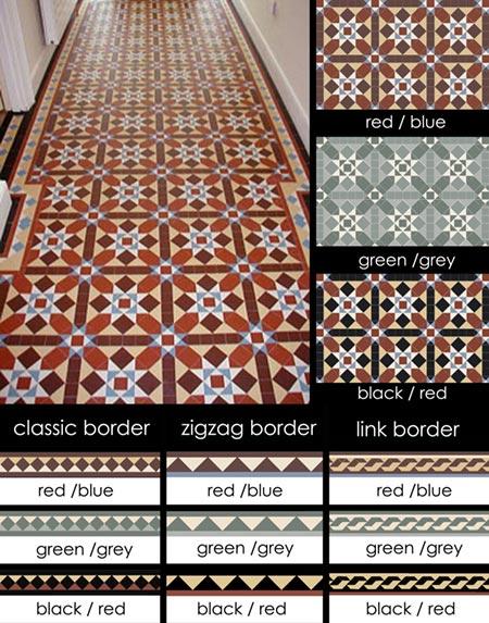 Geometric Patterned Tiles Encaustic Mosaic Tiled Floors