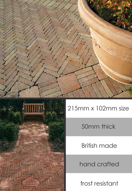 English Terracotta Garden Slip Paviours 134E