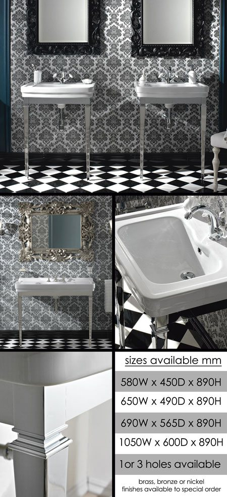 Luxury Traditional Wash Basin And Metal Washstand
