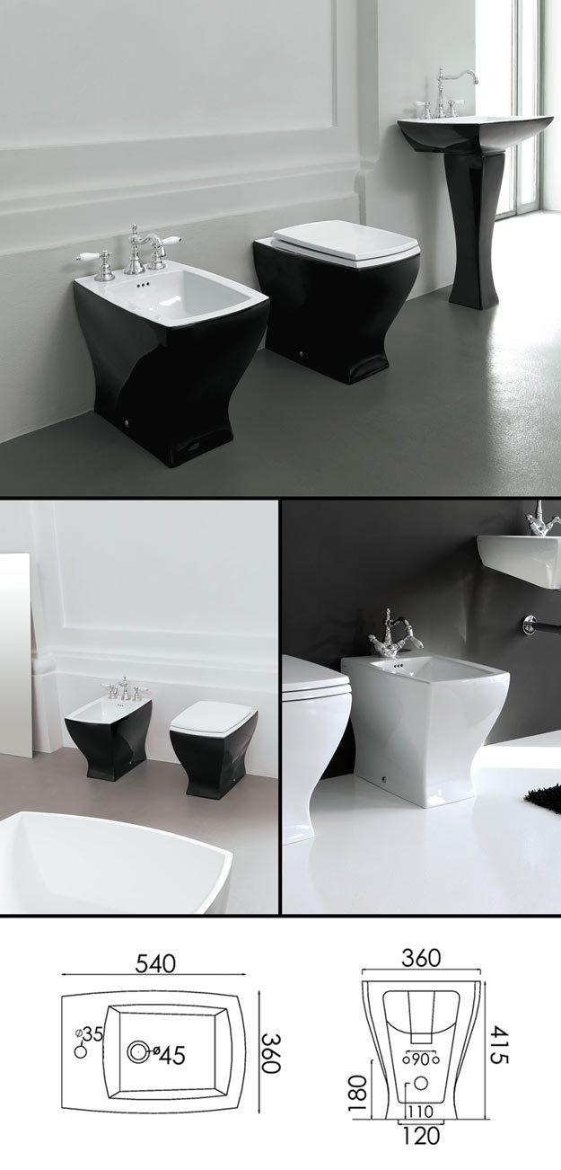 Back To Wall Black Bidet - Part Of Coloured Bathroom Suite ...