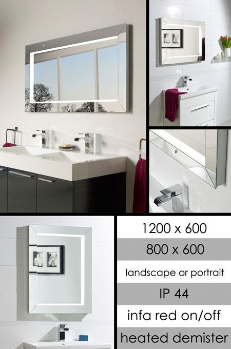 chic heated bathroom mirror with sensor lights. Black Bedroom Furniture Sets. Home Design Ideas
