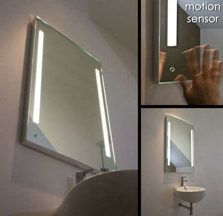Small illuminated bathroom mirrors large heated bathroom for Heated bathroom mirror