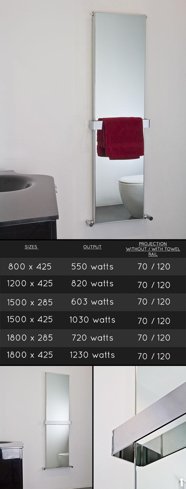 heated bathroom mirror radiator heating towel rail radiator. Black Bedroom Furniture Sets. Home Design Ideas