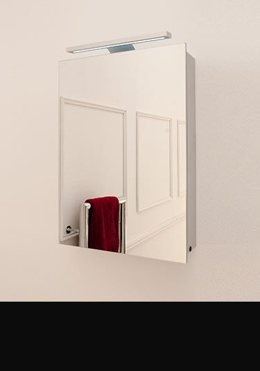 Bathroom mirror cabinets with lights without lights livinghouse uk for Heated bathroom mirror cabinet