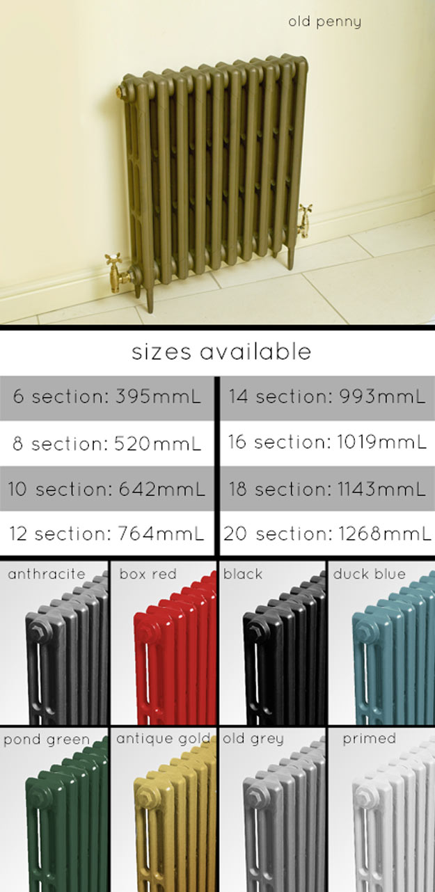 Traditional Victorian Style Cast Iron Radiators In Colours