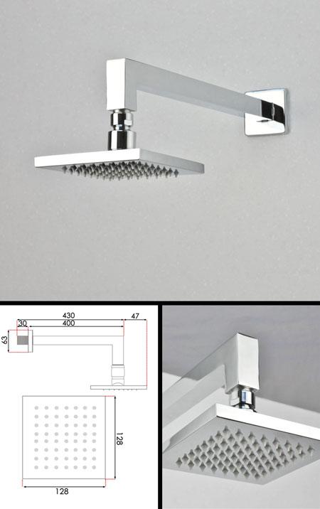 mini square fixed shower head 128mm 77j