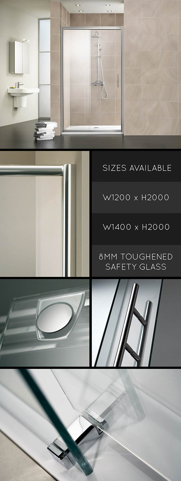 Recess Shower Partition With Sliding Shower Door For Bathrooms